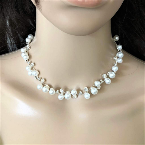 Pearl and Rhinestone Silver Chain Necklace and Earrings Set