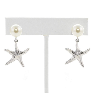 Silver Starfish and Pearl Stud Earrings Summer Beach