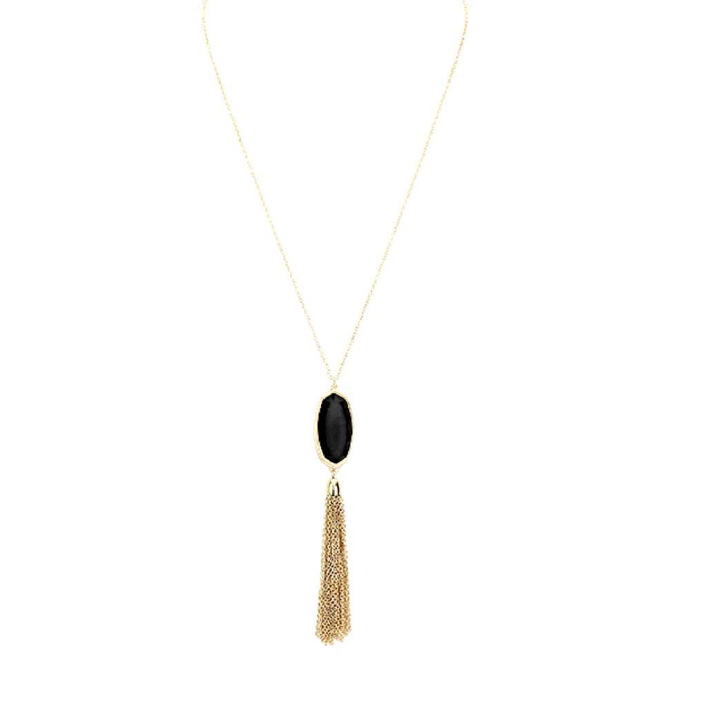 Black Resin Stone and Gold Tassel Long Necklace - JaeBee Jewelry