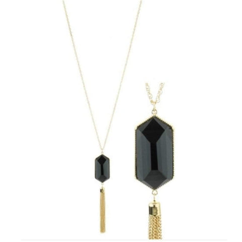 Black Resin Stone and Gold Tassel Long Necklace