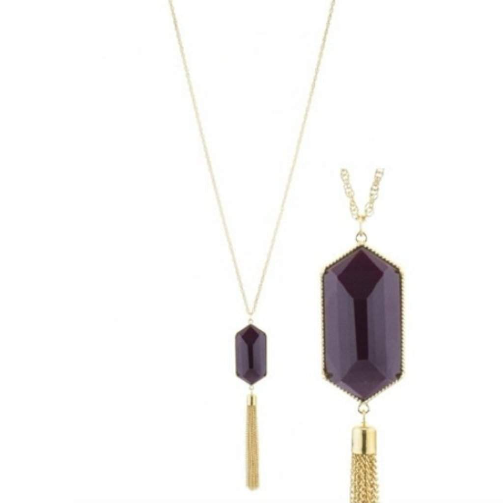 Brown Resin Stone and Gold Tassel Long Necklace - JaeBee Jewelry