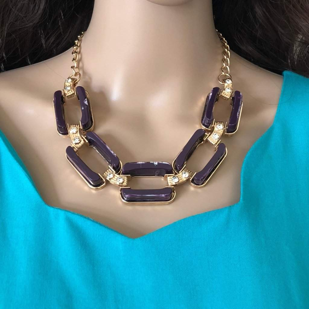Purple Rectangle Link Statment Necklace