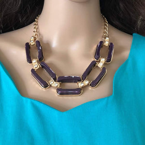 Purple Rectangle Link Statment Necklace - JaeBee Jewelry