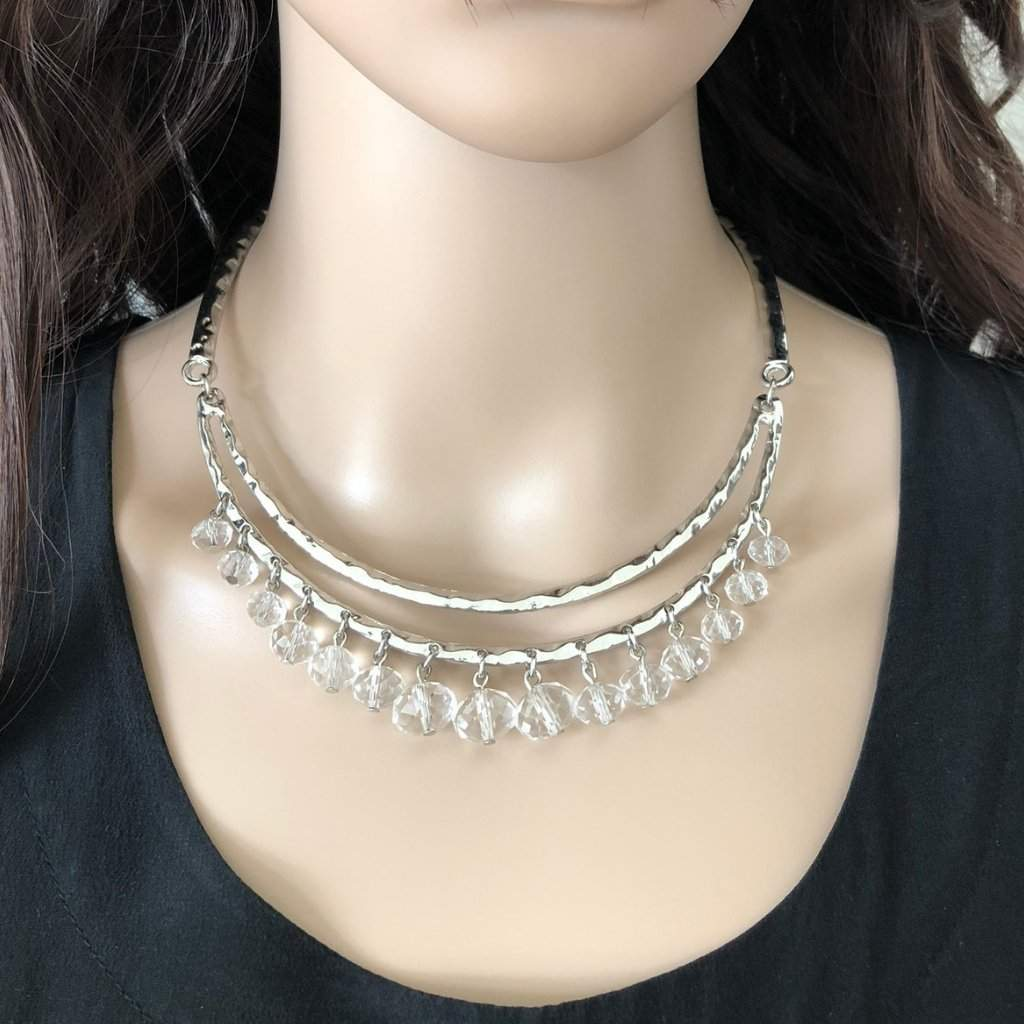 Silver Metal Collar Necklace with Clear Crystal Beads