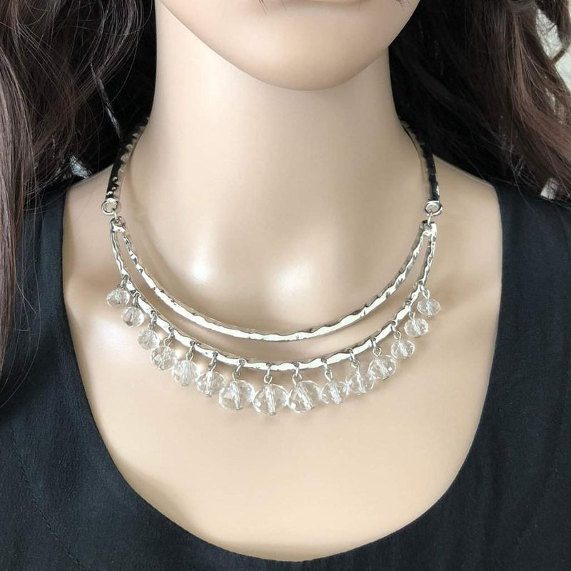 Silver Metal Collar Necklace with Clear Crystal Beads - JaeBee Jewelry