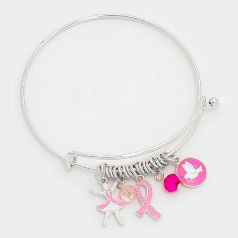 Pink Ribbon Breast Cancer Silver Bangle Bracelet