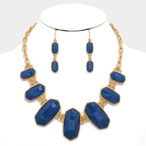 Blue Stone Faceted Statement Necklace - JaeBee Jewelry