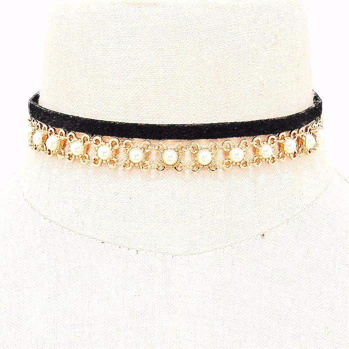 Black Suede and Gold Chain and Pearl Choker - JaeBee Jewelry