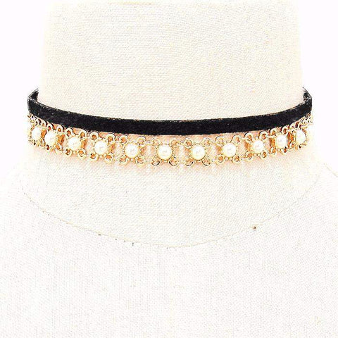 Black Suede and Gold Chain and Pearl Choker