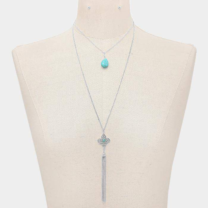 Turquoise and Silver Layered Pendant Necklace - JaeBee