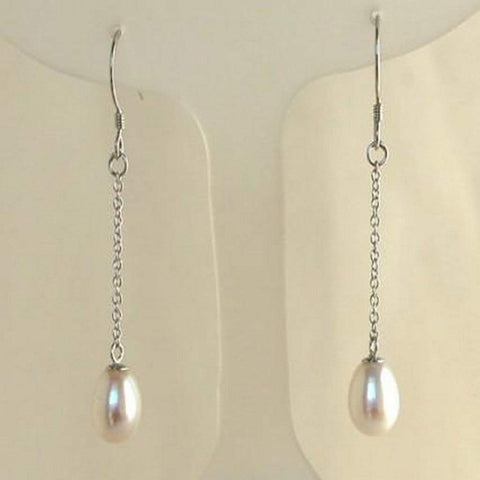 Cultured White Pearl Dangle Earrings