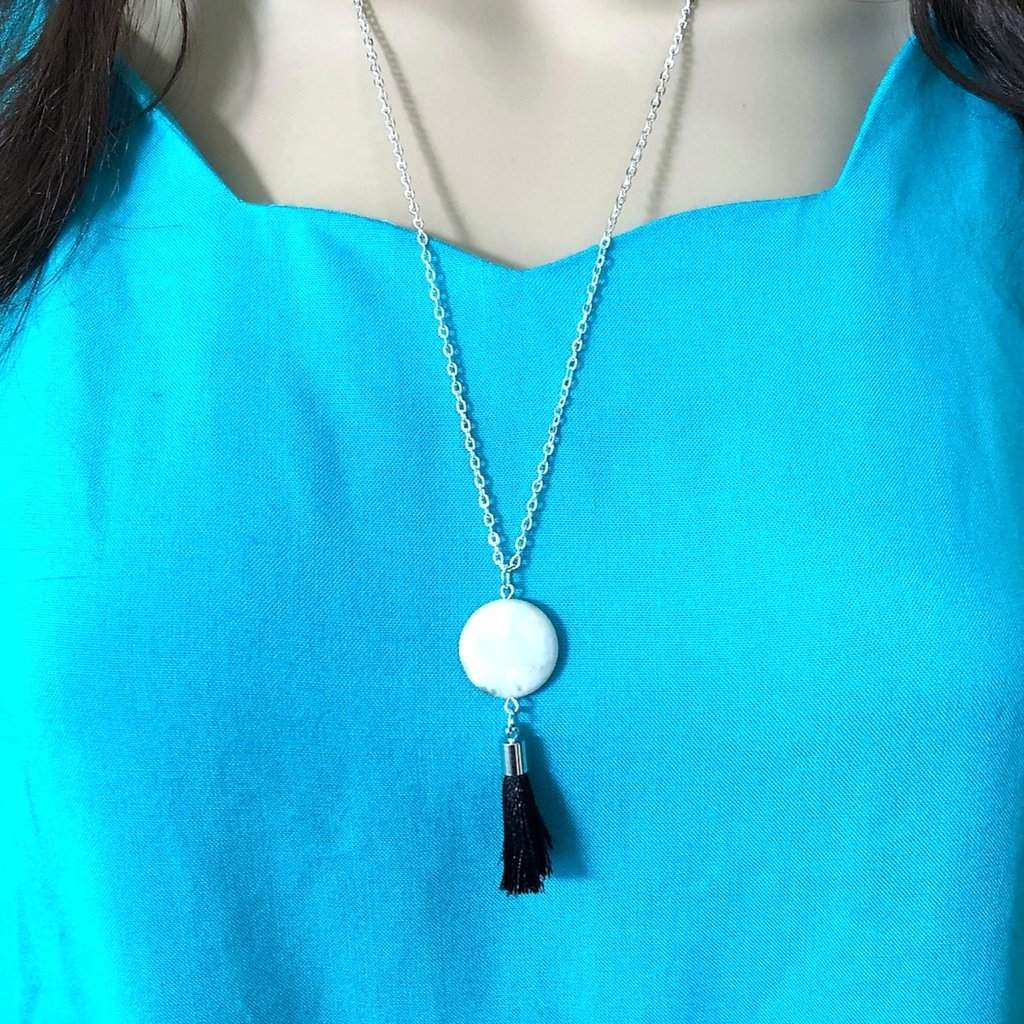 White Jasper Stone and Black Tassel Long Necklace - JaeBee Jewelry