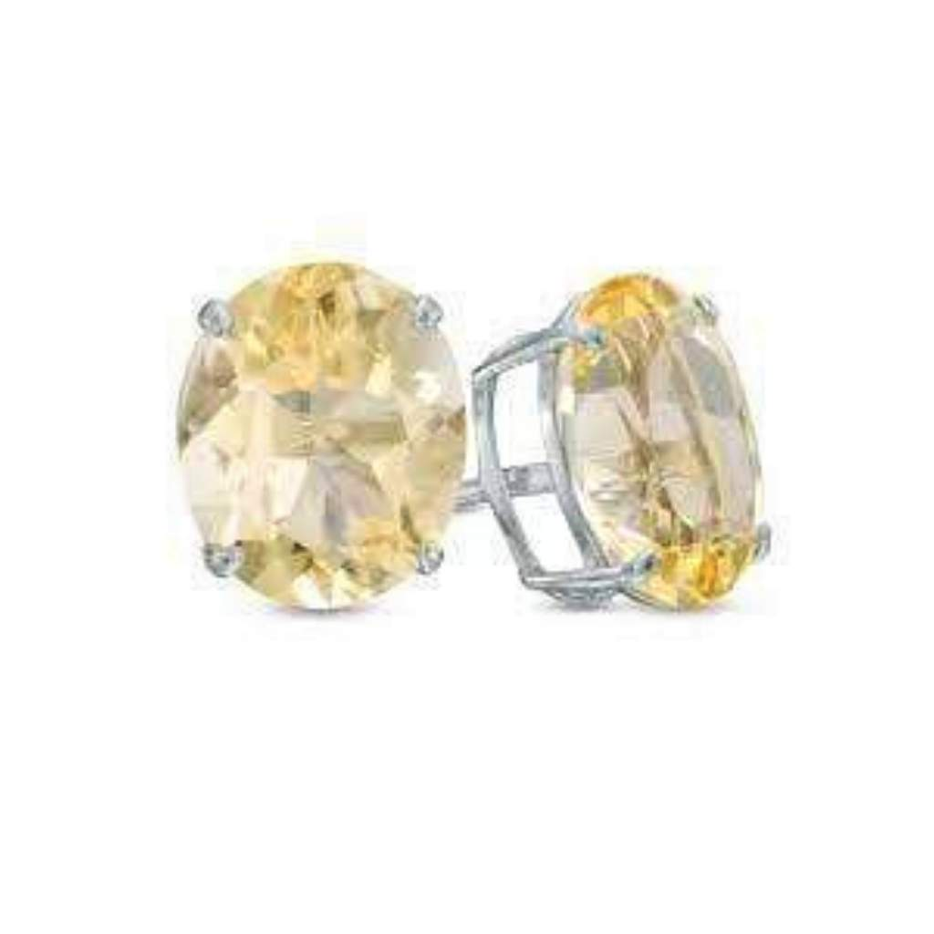 Citrine Oval Sterling Silver Stud Earrings - JaeBee Jewelry