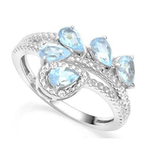Blue Topaz and Diamond Sterling Silver Ring - JaeBee Jewelry