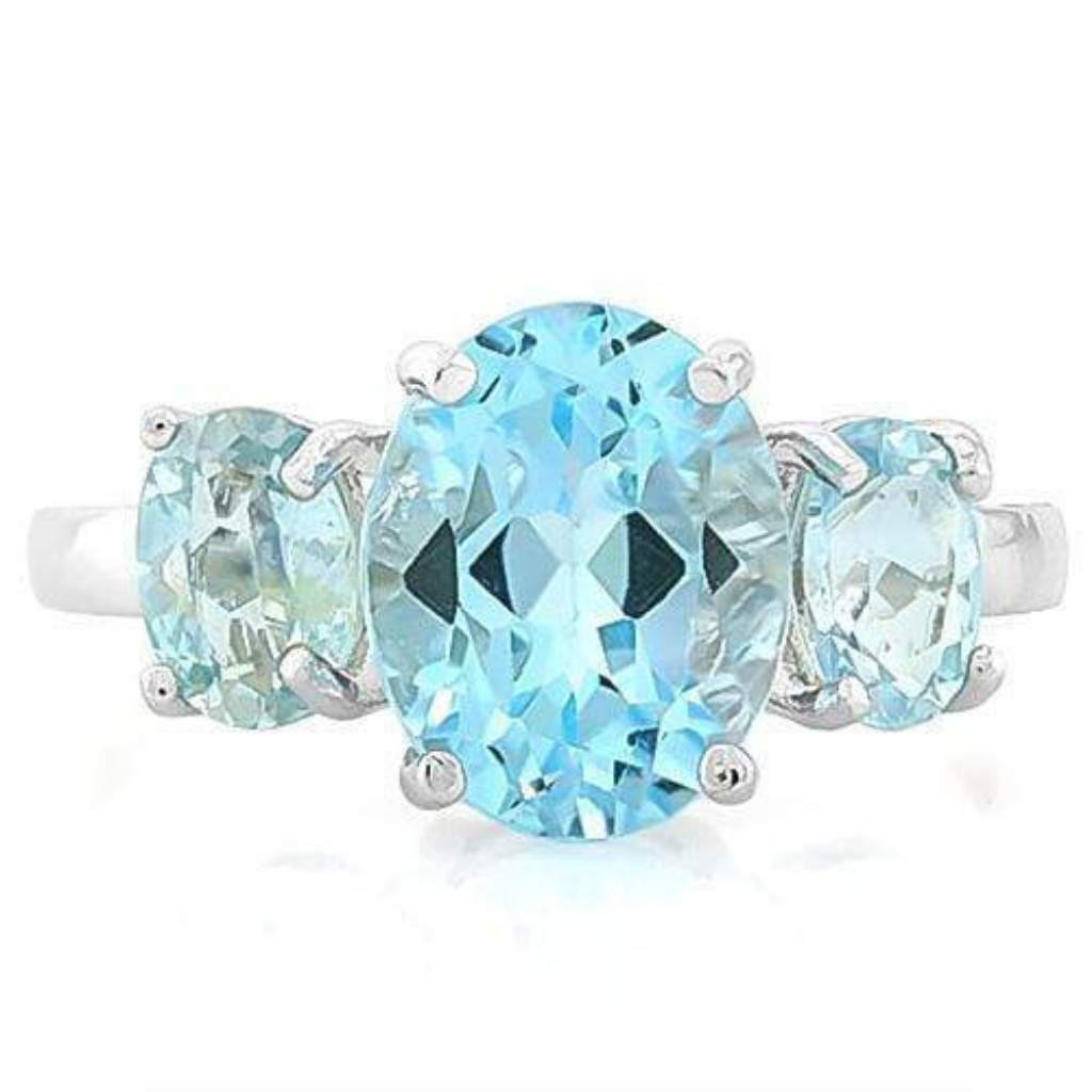 Baby Swiss Blue Topaz Sterling Silver Ring