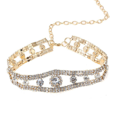 Rhinestone and Gold Choker