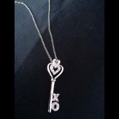 Sterling Silver and CZ Key Pendant with Hearts and XO
