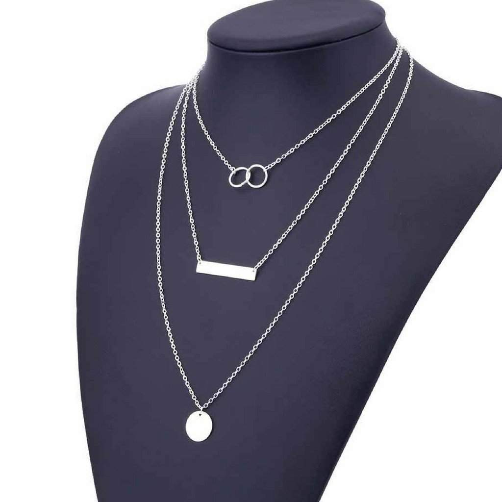 Silver Layered Disc, Bar, and Double Ring Chain Necklace - JaeBee Jewelry