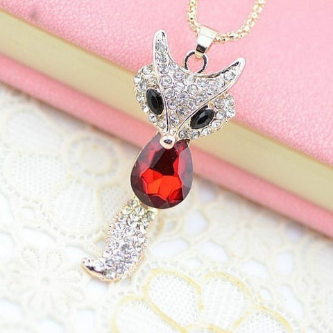 Red Crystal Fox Pendant Necklace