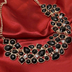 Black and Clear Crystal Collar Necklace