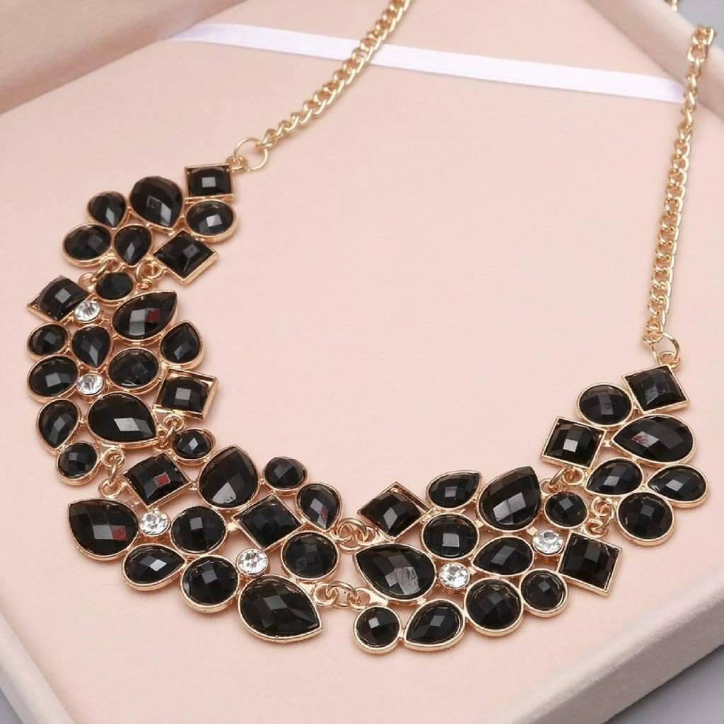 Black and Clear Crystal Collar Necklace - JaeBee Jewelry