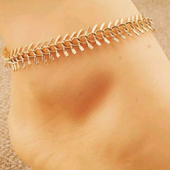 Gold Chain Feather Anklet - JaeBee Jewelry