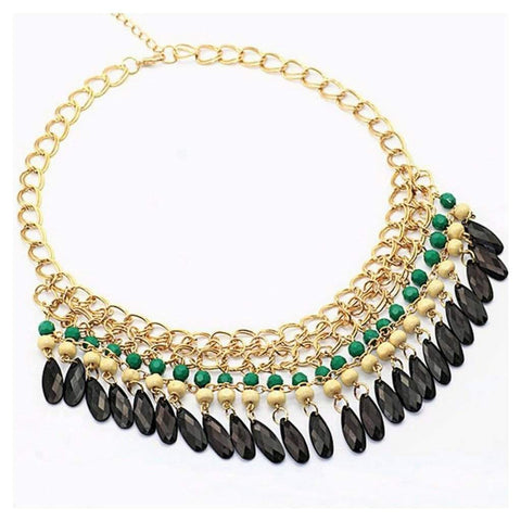 Green and Black Fringe Statement Necklace