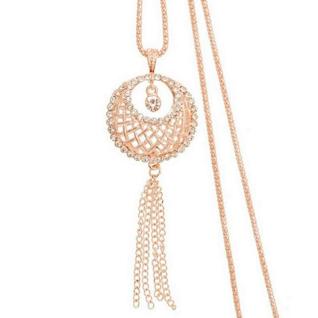 Gold and Crystal Lattice Basket Long Necklace - JaeBee Jewelry