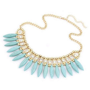 Turquoise Stone Fringe Beaded Collar Necklace - JaeBee Jewelry