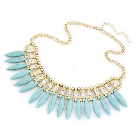 Turquoise Stone Fringe Beaded Collar Necklace