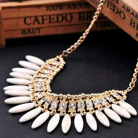 White Stone Fringe Beaded Collar Necklace