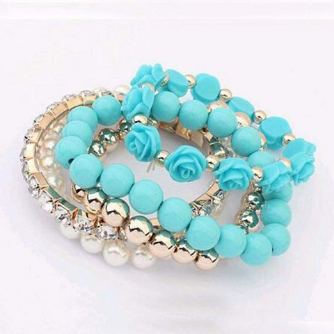 Turquoise Multi Layered Bead and Flower Bracelet Set