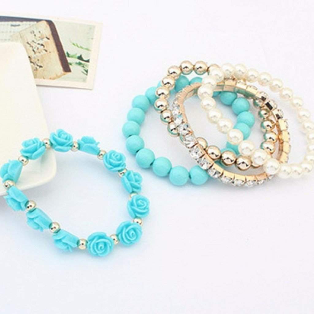 Turquoise Multi Layered Bead and Flower Bracelet Set - JaeBee Jewelry