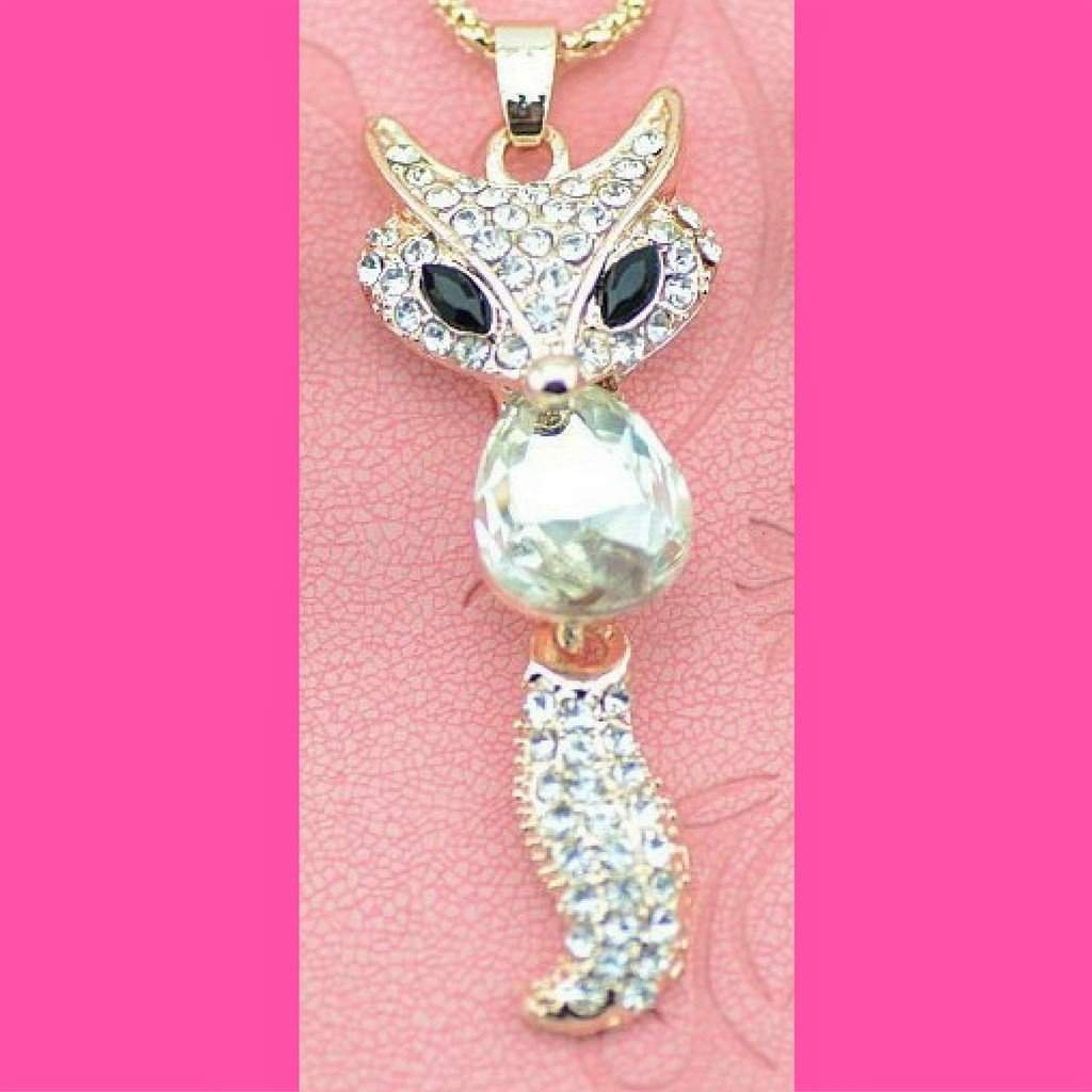 Clear Crystal Fox Pendant Necklace - JaeBee