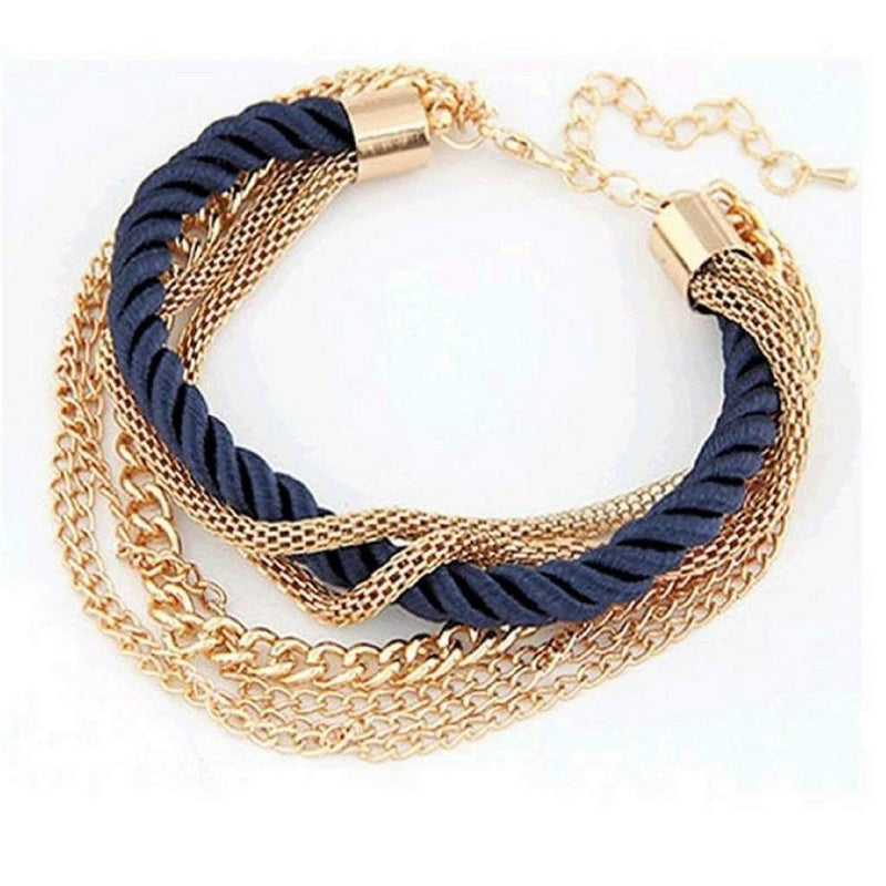 Multi Gold Chain Layered Navy Blue Bracelet - JaeBee Jewelry