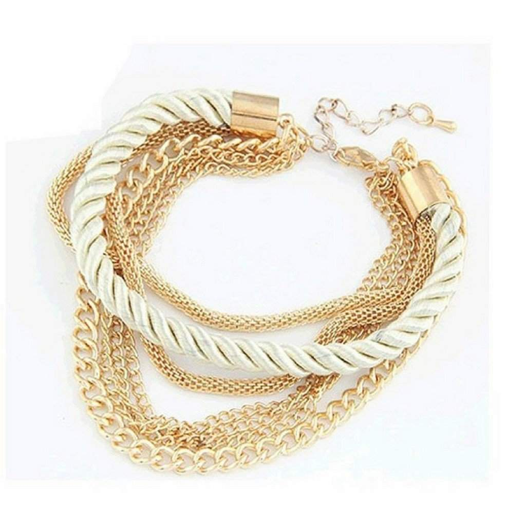 Multi Gold Chain Pearl White Bracelet