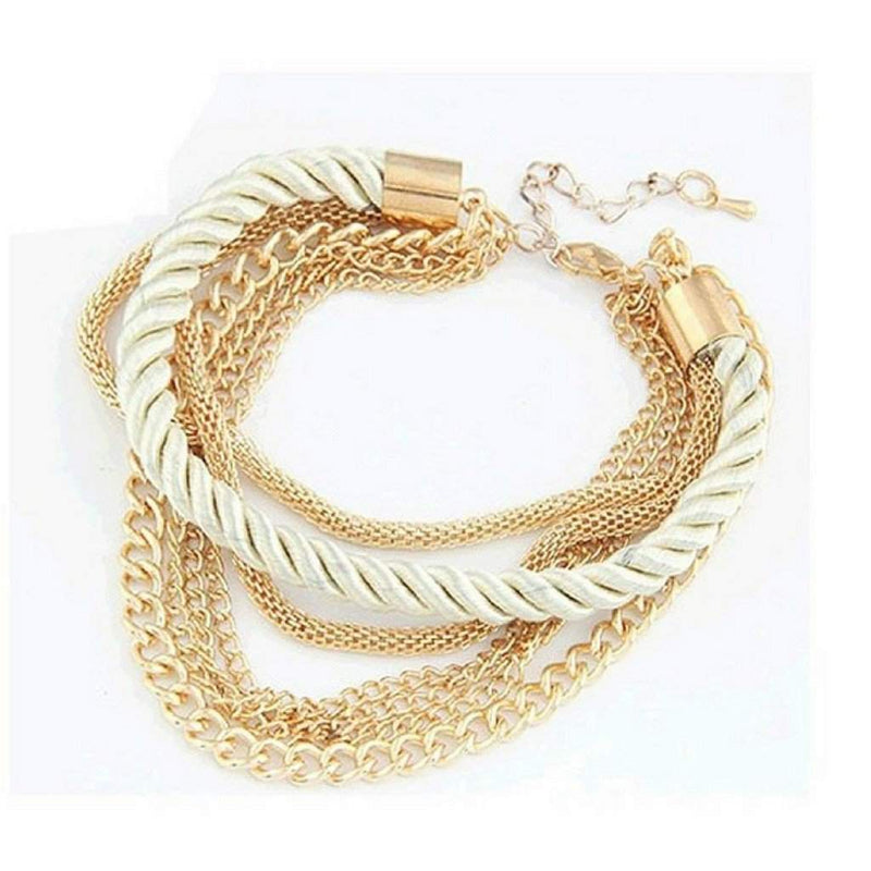 Multi Gold Chain Layered Pearl White Bracelet - JaeBee Jewelry
