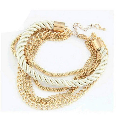Multi Gold Chain Layered Pearl White Bracelet