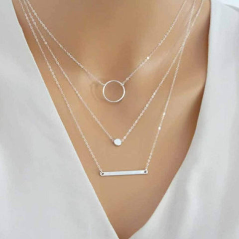 Silver Layered Bar, Circle and Metal Bead Necklace