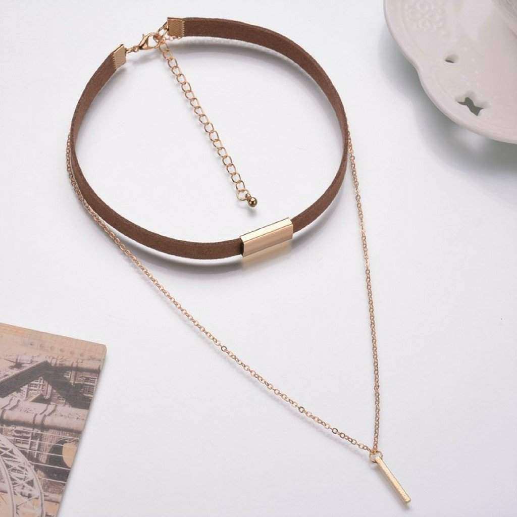 Brown Suede and Gold Chain Layered Choker - JaeBee Jewelry