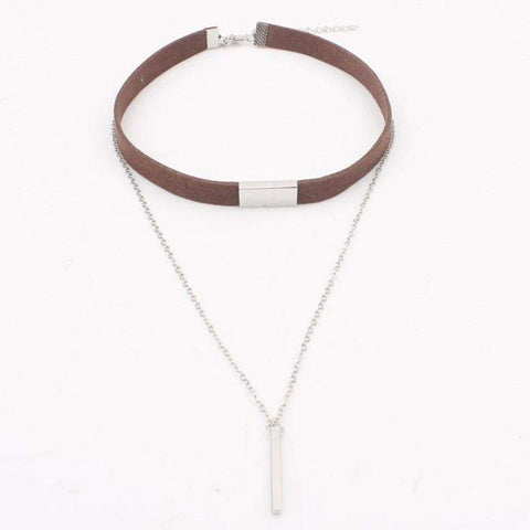 Brown Suede and Silver Chain Layered Choker