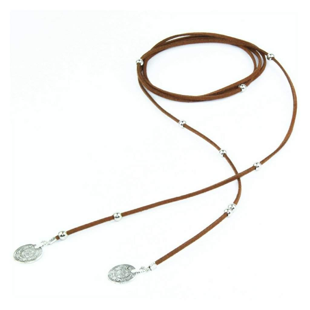 Brown Suede Wrap Choker with Silver Beads and Silver Coins - JaeBee