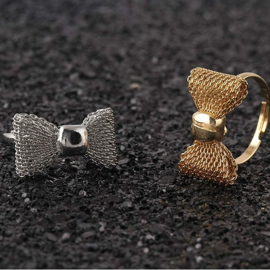 Gold or Silver Mesh Bow Rings - JaeBee Jewelry