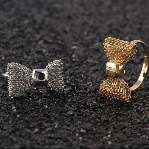 Gold or Silver Mesh Bow Rings