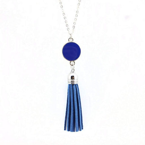 Blue Enameled Disc and Tassel Long Necklace