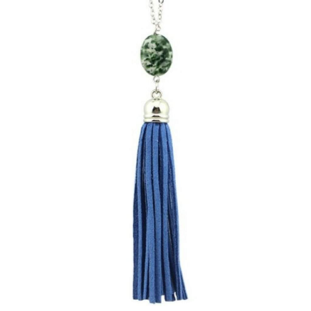 Blue Natural Stone and Tassel Long Necklace - JaeBee Jewelry