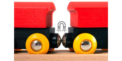 Brio trains connect with magnets