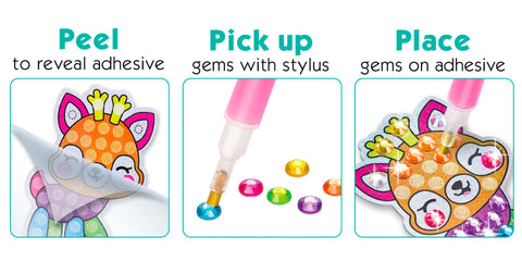 Peel to reveal the adhesive, Pick up gems with the stylus, Place gems on the adhesive to complete the picture!