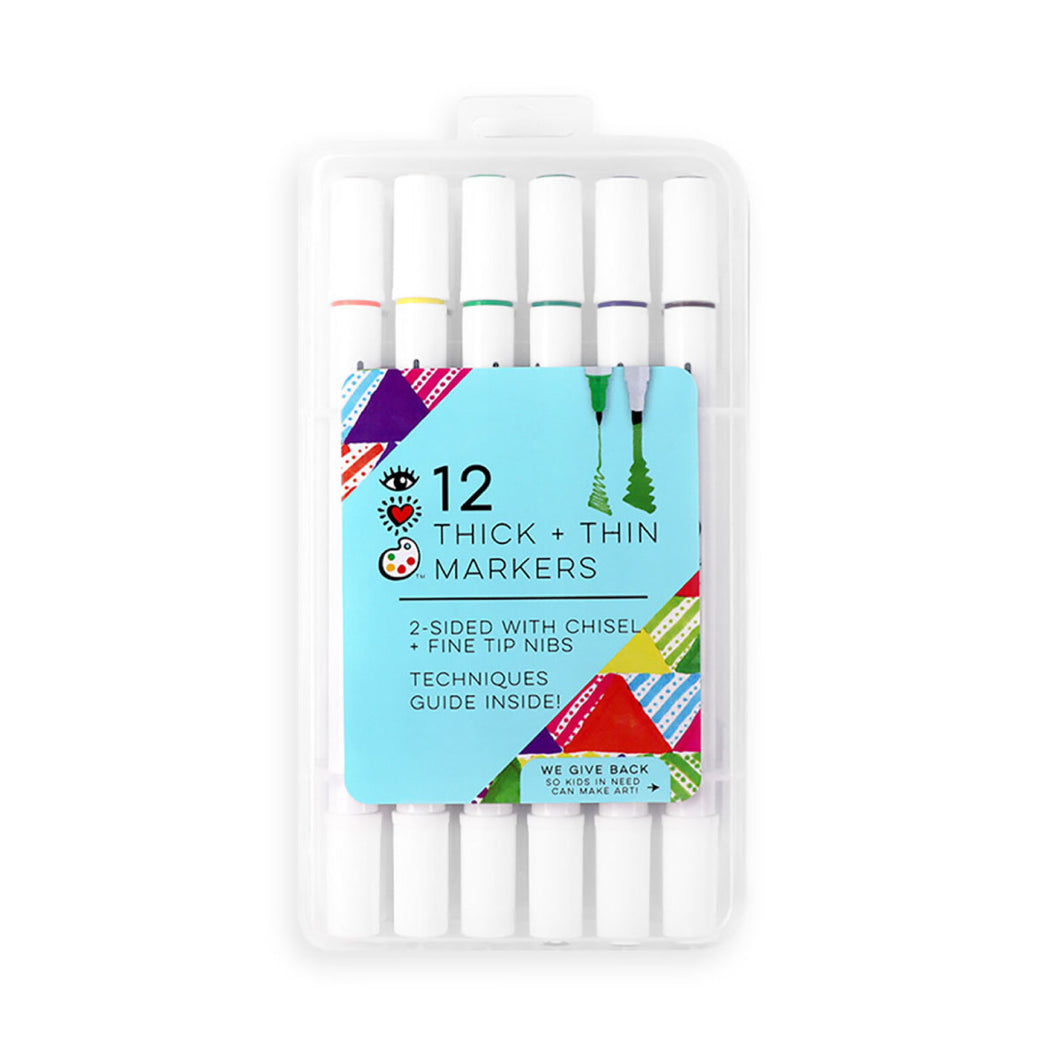 iHeart Art 12 Thick & Thin Markers, Chisel & Fine Tip