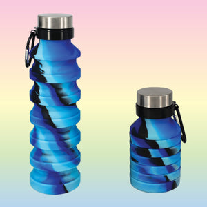 Blue & Black Tie Dye Collapsible Water Bottle